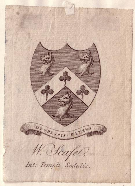 Coat of Arms used by William Scafe of Tanfield.